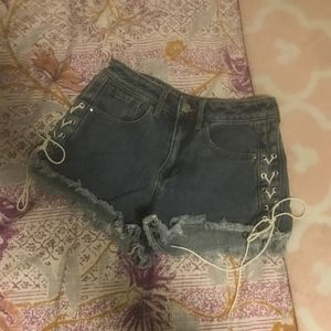 NWOT PacSun Lace-Up Cutoff Denim Shorts